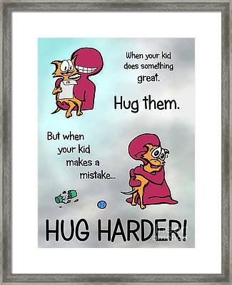 Framed Print featuring the drawing Hug Harder by Pet Serrano