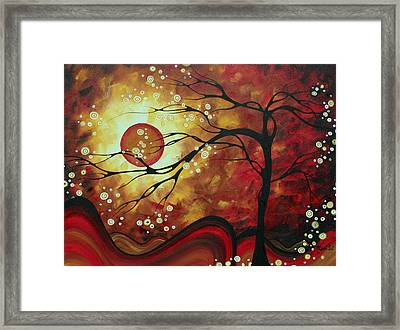 Huge Abstract Art Original Bold Painting Sweeping Tendrils By Madart Framed Print by Megan Duncanson