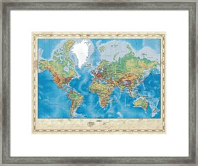 Huge Hi Res Mercator Projection Physical And Political Relief World Map Framed Print