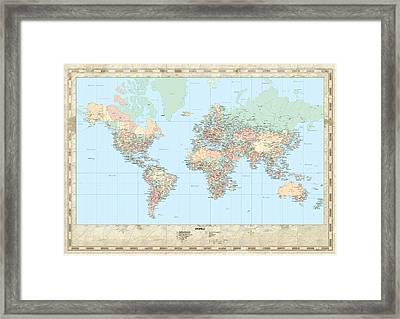 Huge Hi Res Mercator Projection Political World Map   Framed Print