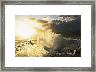 Huge Wave Crashing Against Coastal Rocks On The Portlock Coastline_ Oahu, Hawaii, United States Of America Framed Print by Charmian Vistaunet
