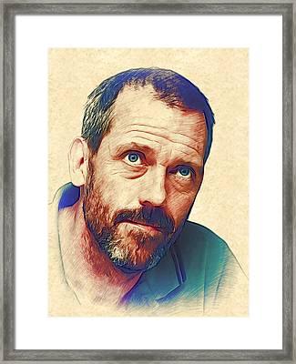 Hugh Laurie Framed Print by Marina Likholat