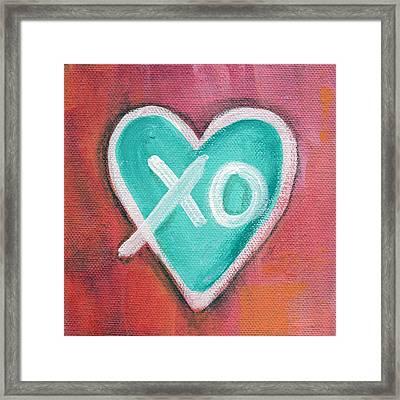 Hugs And Kisses Heart Framed Print
