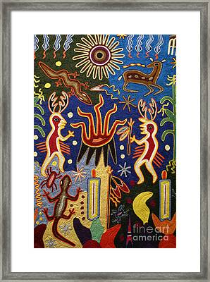 Huichol Yarn Painting Mexico Framed Print