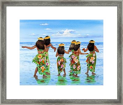 Hula Dancers Hawaii Framed Print by John YATO