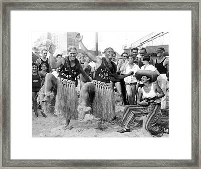 Hula Dancing Lifeguards In Long Beach Framed Print by -