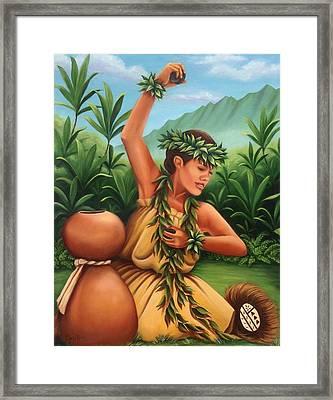 Hula 'ili'ili Framed Print by Carmen Casillas