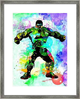 Hulk Watercolor Framed Print by Daniel Janda
