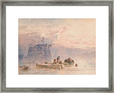 Hulks At Anchor Framed Print by William Cook of Plymouth