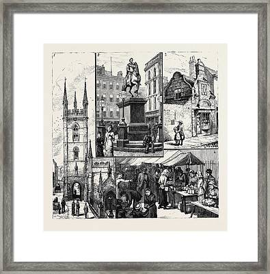 Hull 1. St. Marys Church 2. Statue Of King William Framed Print by English School