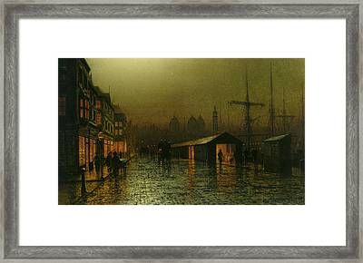 Framed Print featuring the painting Hull Docks By Night   by Arthur Grimshaw