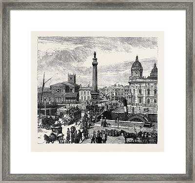 Hull Whitefriargate Bridge And Wilberforce Monument Framed Print by English School