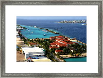 Hulule Airport And Capital Male. Maldives Framed Print by Jenny Rainbow