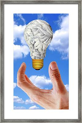 Human Brain In Shape Of Lightbulb Framed Print