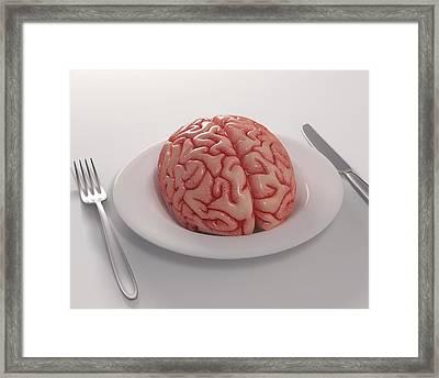 Human Brain On Dinner Plate Framed Print by Ktsdesign