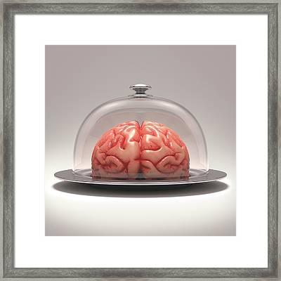 Human Brain On Platter Framed Print