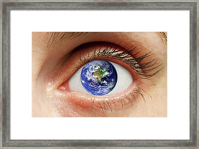 Human Eye With Planet Earth Framed Print by Victor De Schwanberg