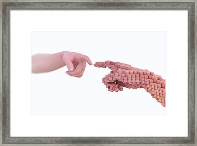 Human Hand Made From Voxels Framed Print