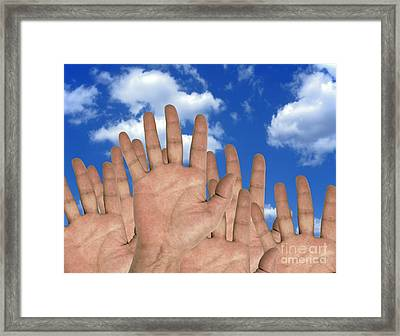 Human Hands And The Sky, Conceptual Framed Print by Victor de Schwanberg