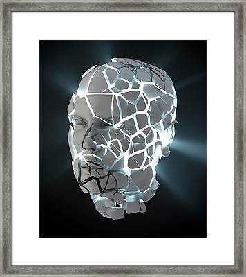 Human Head With Cracks Framed Print by Andrzej Wojcicki