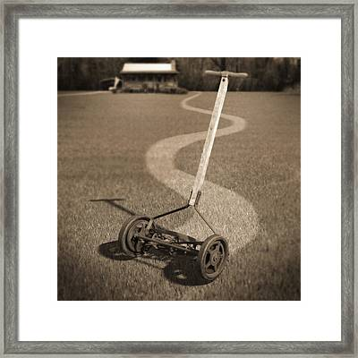 Human Power Lawn Mower Framed Print