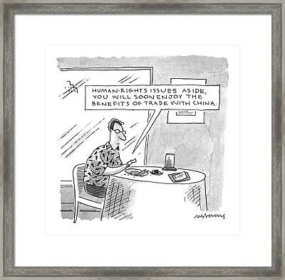 'human-rights Issues Aside Framed Print by Mick Stevens