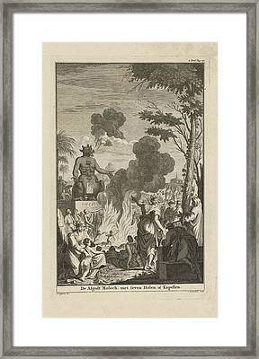 Human Sacrifice To The Idol Moloch, Jan Lamsvelt Framed Print by Quint Lox