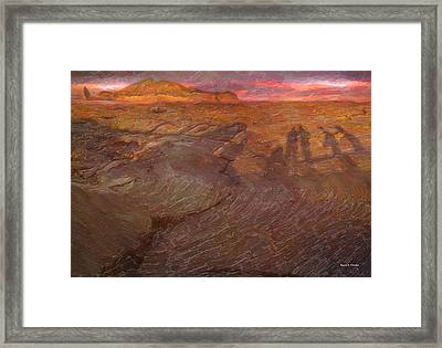 Human Shadows Of Lava Island In Galapagos Framed Print by Angela Stanton