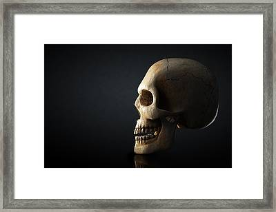Human Skull Profile On Dark Background Framed Print by Johan Swanepoel