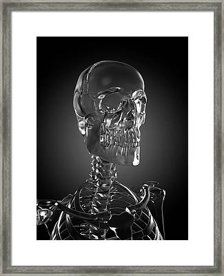 Human Skull Rendered In Glass Framed Print by Sebastian Kaulitzki/science Photo Library