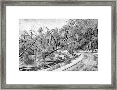 Humber River Road - Paint Bw Framed Print by Steve Harrington