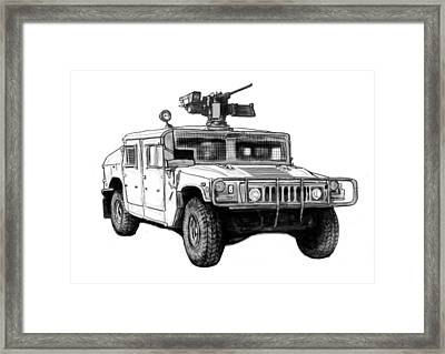 Hummer Us Army Car Drawing Art Poster Framed Print
