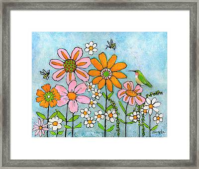 Hummingbird And Bees Framed Print
