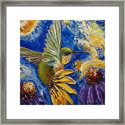 Hummingbird And Purple Cone Flowers Framed Print by Paris Wyatt Llanso