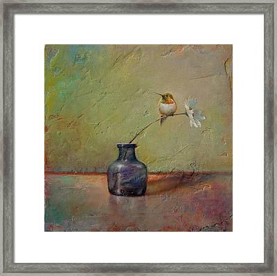 Hummingbird And White Daisy Framed Print