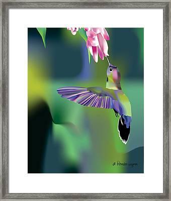Framed Print featuring the digital art Hummingbird by Arline Wagner