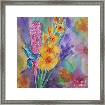 Hummingbird Heaven - Square Framed Print by Ellen Levinson