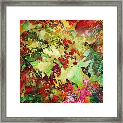 Hummingbird In Flower Heaven - Square Framed Print