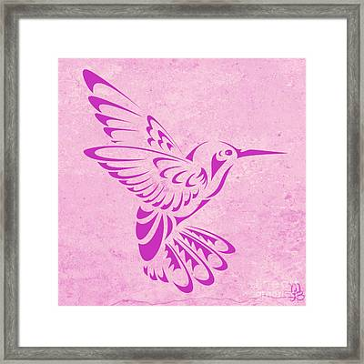 Hummingbird In Purple Framed Print by Mindy Bench