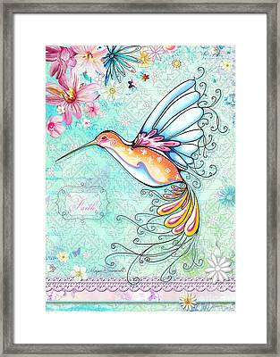 Hummingbird Inspirational Floral Painting Art Quote Faith By Megan Duncanson Framed Print by Megan Duncanson