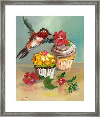hummingbird with 2 Cupcakes Framed Print by Susan Thomas