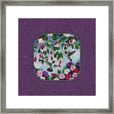 Hummingbirds And Flowers Duvet Cover Framed Print by Crista Forest