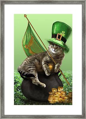 St. Patrick's Day Irish Cat Sitting On A Pot Of Gold Framed Print