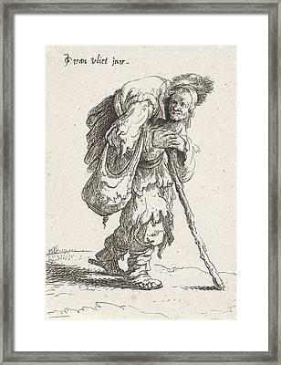 Humpback Beggar With A Cane Framed Print by Jan Gillisz. Van Vliet