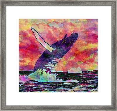 Humpback Whale Digital Color Framed Print