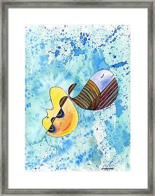 Humpback Whale In Harmony Framed Print by Mukta Gupta