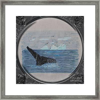 Humpback Whale Tail And Icebergs - Porthole Vignette Framed Print