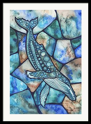 Humpback Whale Paintings Framed Prints