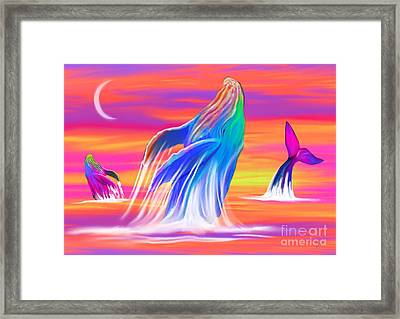 Humpback Whales Sunset Framed Print by Nick Gustafson