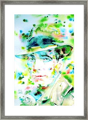 Humphrey Bogart - Watercolor Portrait.2 Framed Print by Fabrizio Cassetta